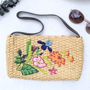 The Limited Handmade Wicker Embroidered Floral Bag